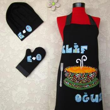 chef cap oven glove and double sided apron great gift new , soup
